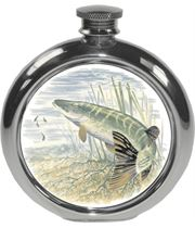 "6oz Round Pike Fishing Sheffield Pewter Hip Flask 11.5cm (4.5"")"
