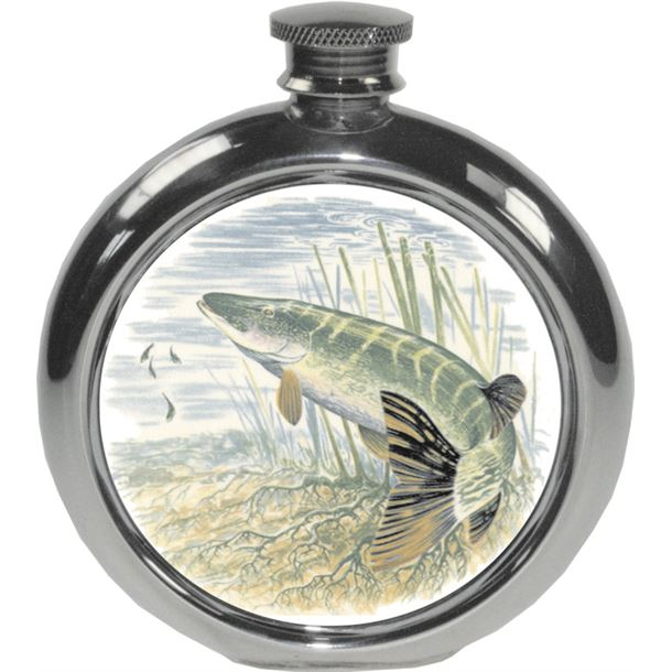 "6oz Round Pike Fishing Sheffield Pewter Hip Flask 11.5cm (4.5"")"
