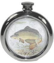 "6oz Round Carp Fishing Sheffield Pewter Hip Flask 11.5cm (4.5"")"