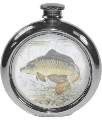 "6oz Round Carp Fishing Sheffield Pewter Hip Flask 11.5cm (4.5"")"