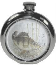 "6oz Round Perch Fishing Sheffield Pewter Hip Flask 11.5cm (4.5"")"