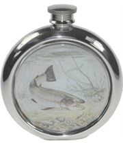 "6oz Round Trout Fishing Sheffield Pewter Hip Flask 11.5cm (4.5"")"