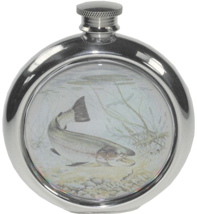"""6oz Round Trout Fishing Sheffield Pewter Hip Flask 11.5cm (4.5"""")"""