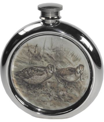 "6oz Round Woodcock Game Sheffield Pewter Hip Flask 11.5cm (4.5"")"