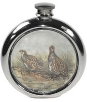 "6oz Round Partridge Game Sheffield Pewter Hip Flask 11.5cm (4.5"")"