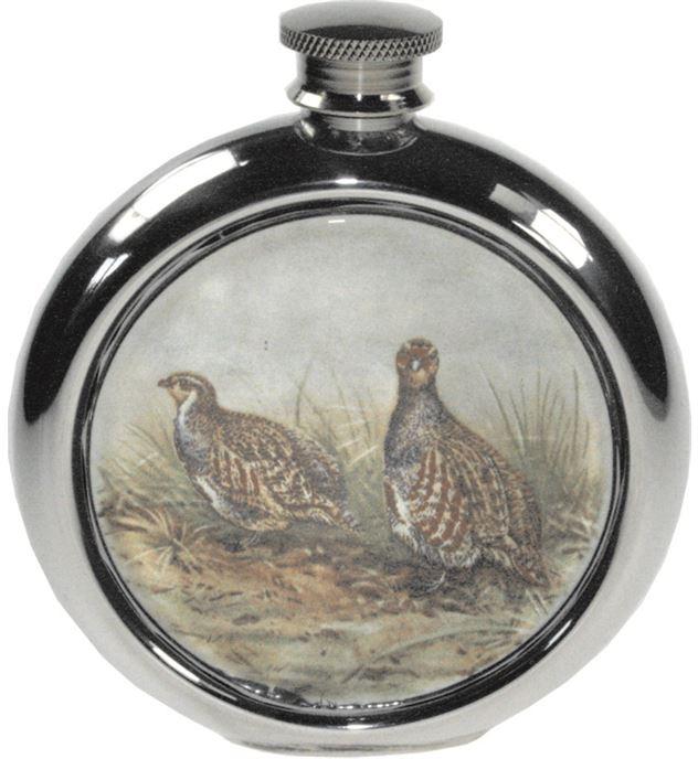 "6oz Round Partridge Game Sheffield Pewter Hip Flask 11.5cm (4.5"")"
