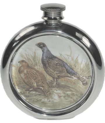 "6oz Round Grouse Game Sheffield Pewter Hip Flask 11.5cm (4.5"")"