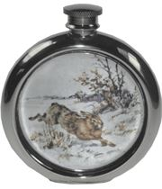 "6oz Round Hare Game Sheffield Pewter Hip Flask 11.5cm (4.5"")"