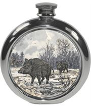 "6oz Round Boar Game Sheffield Pewter Hip Flask 11.5cm (4.5"")"