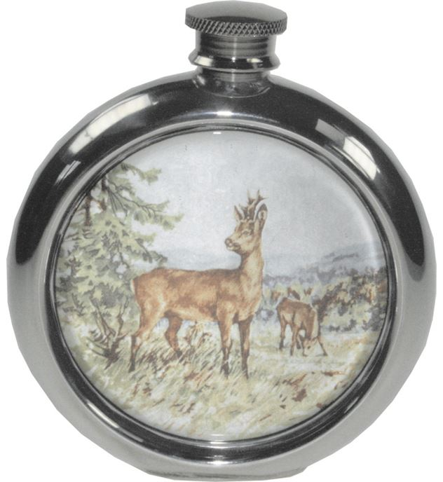 "6oz Round Roe Deer Game Sheffield Pewter Hip Flask 11.5cm (4.5"")"