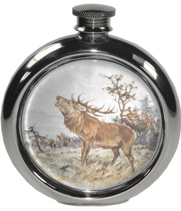 "6oz Round Stag Game Sheffield Pewter Hip Flask 11.5cm (4.5"")"