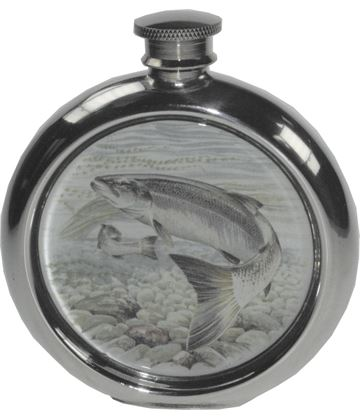"6oz Round Salmon Fishing Sheffield Pewter Hip Flask 11.5cm (4.5"")"