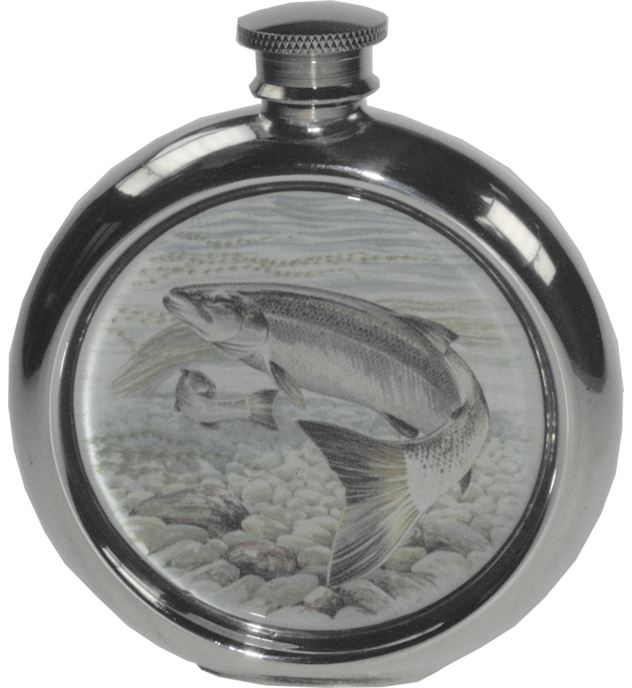 "6oz Round Salmon Fishing Sheffield Pewter Hip Flask 11.5cm (4.5"")"