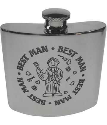 "4oz Best Man Embossed Sheffield Pewter Hip Flask 8.5cm (3.25"")"