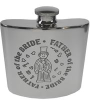"4oz Father of the Bride Embossed Sheffield Pewter Hip Flask 8.5cm (3.25"")"