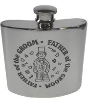 "4oz Father of the Groom Embossed Sheffield Pewter Hip Flask 8.5cm (3.25"")"