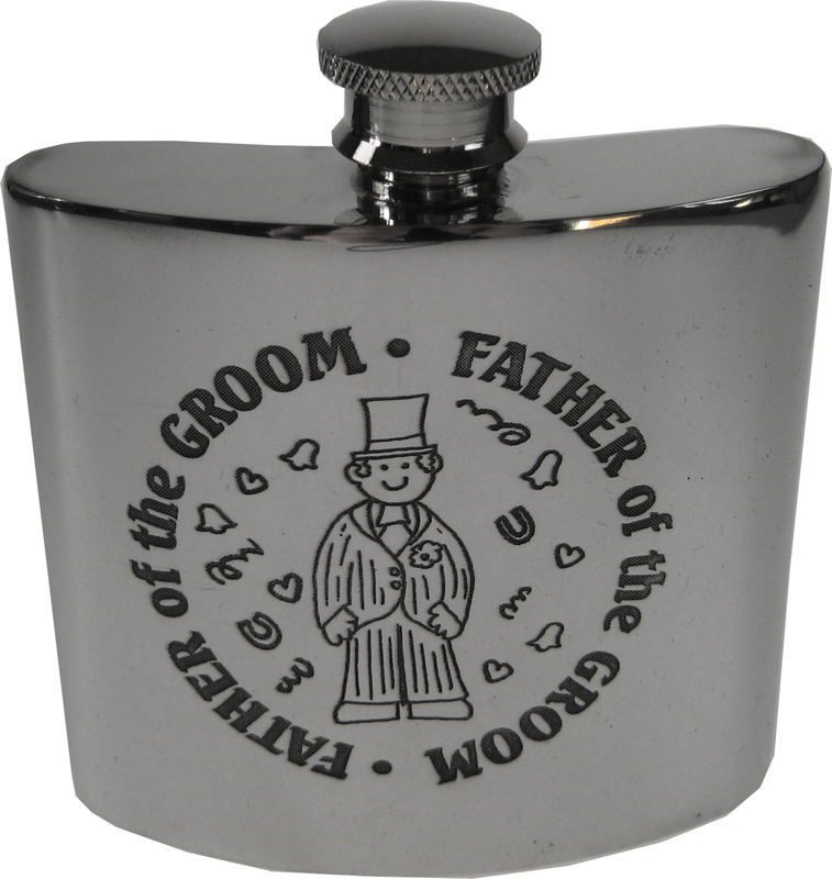 """4oz Father of the Groom Embossed Sheffield Pewter Hip Flask 8.5cm (3.25"""")"""