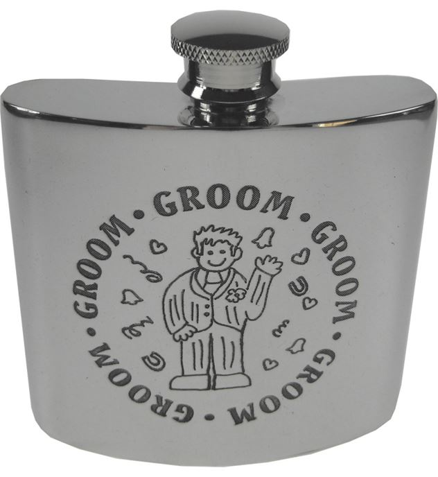 "4oz Groom Embossed Sheffield Pewter Hip Flask 8.5cm (3.25"")"