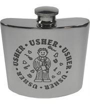 "4oz Usher Embossed Sheffield Pewter Hip Flask 8.5cm (3.25"")"