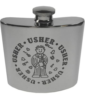 "4oz Usher Embossed Sheffield Pewter Hip Flask 8.5cm (3.25"")"