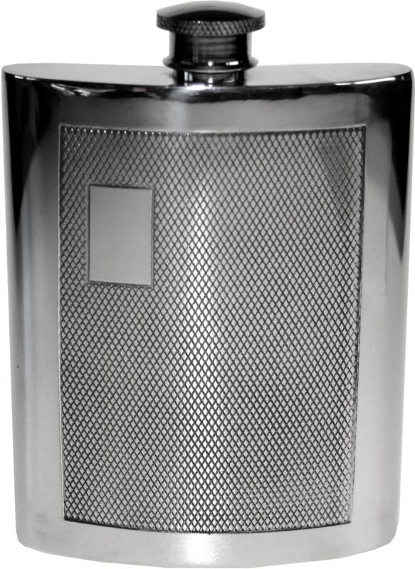 """6oz Barley Patterned Sheffield Pewter Hip Flask 11cm (4.25"""")"""