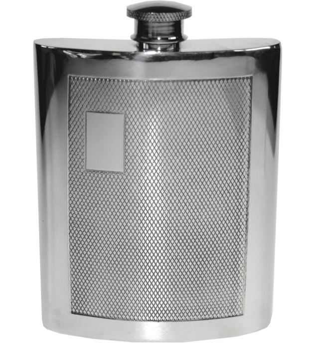 "6oz Barley Patterned Sheffield Pewter Hip Flask 11cm (4.25"")"