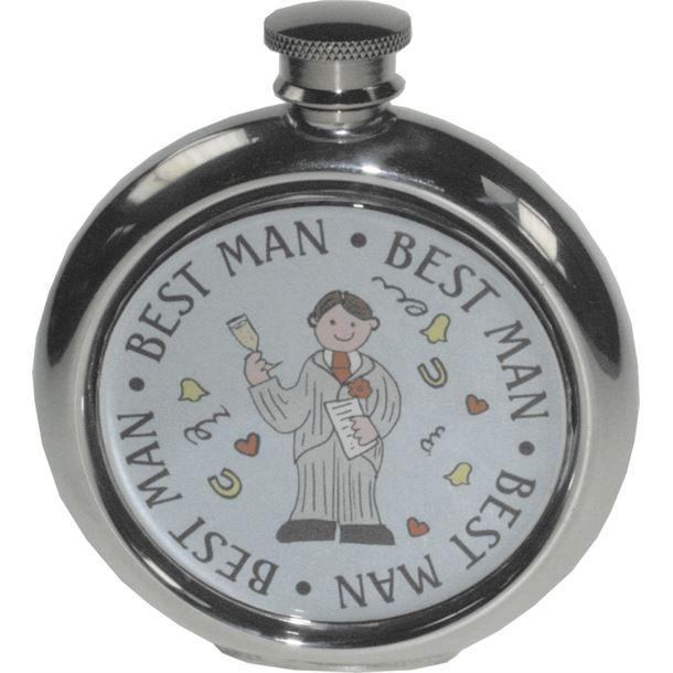 """Round 6oz Best Man Sheffield Pewter Hip Flask 11.5cm (4.5"""")"""