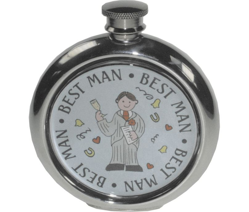 "Round 6oz Best Man Sheffield Pewter Hip Flask 11.5cm (4.5"")"