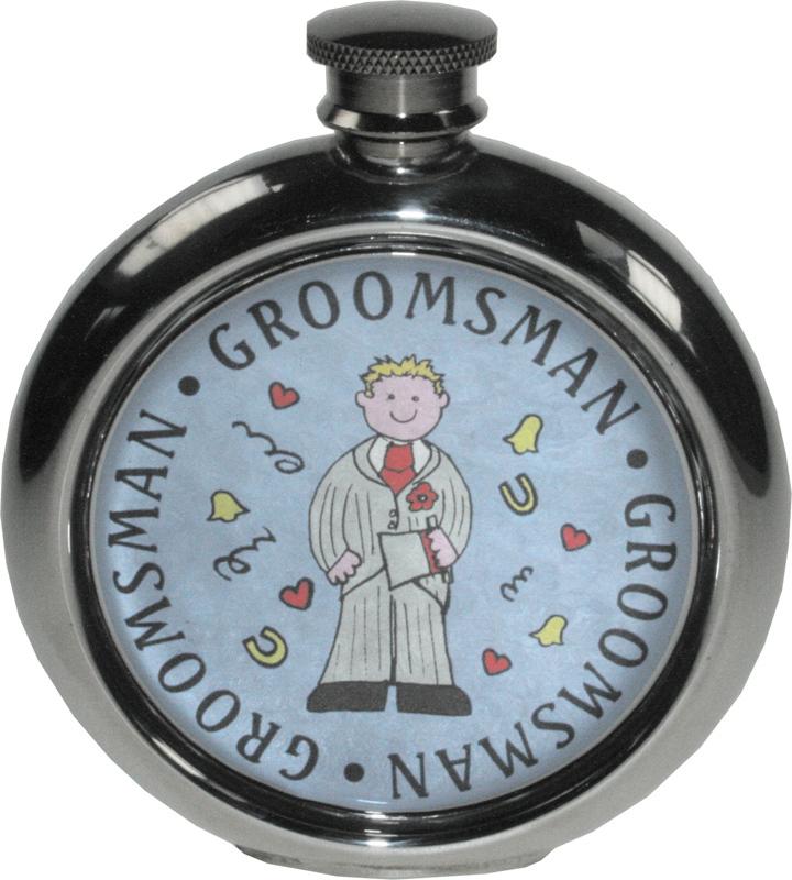 "Round 6oz Groomsman Sheffield Pewter Hip Flask 11.5cm (4.5"")"