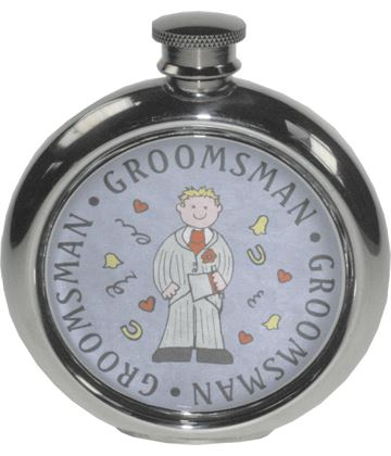 "Round 6oz Groomsman Sheffield Pewter Hip Flask 11.5cm (4.5"")"