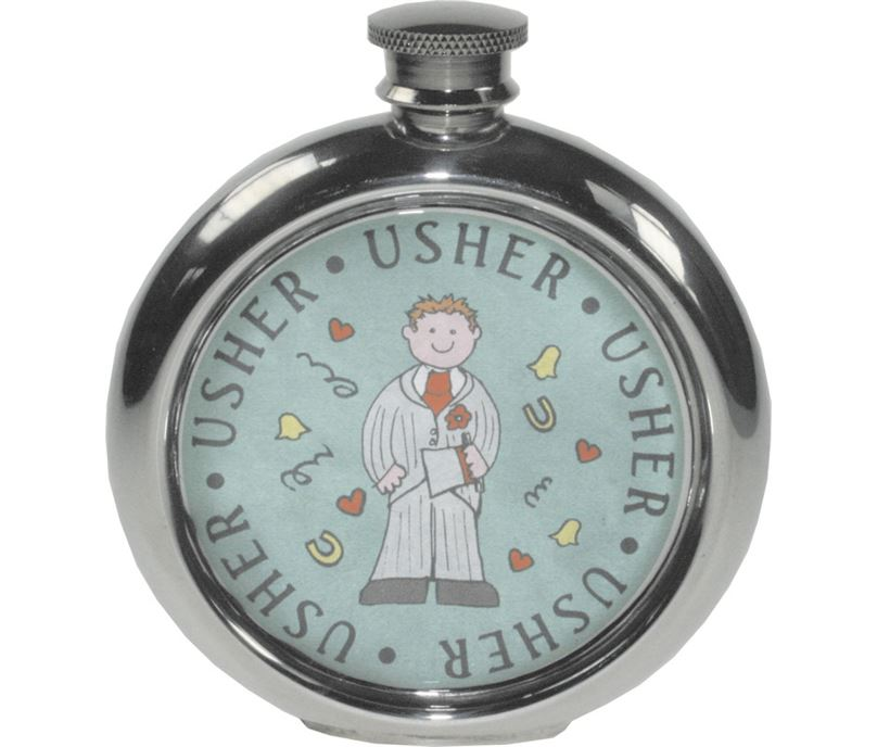 "Round 6oz Usher Sheffield Pewter Hip Flask 11.5cm (4.5"")"