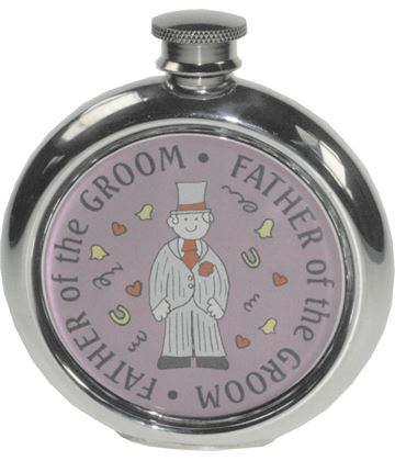 "Round 6oz Father of the Groom Sheffield Pewter Hip Flask 11.5cm (4.5"")"