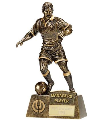"""Antique Gold Pinnacle Managers Player Football Trophy 22cm (8.75"""")"""