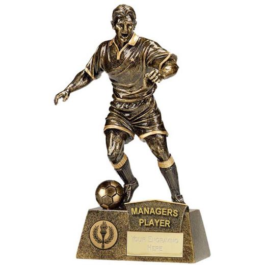 "Antique Gold Pinnacle Managers Player Football Trophy 22cm (8.75"")"