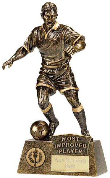 """Antique Gold Pinnacle Most Improved Football Trophy 22cm (8.75"""")"""