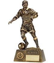 "Antique Gold Pinnacle Parents Player Football Trophy 22cm (8.75"")"