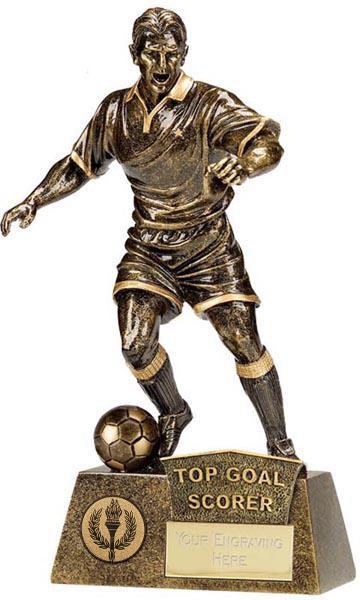 "Antique Gold Pinnacle Top Goal Scorer Football Trophy 22cm (8.75"")"