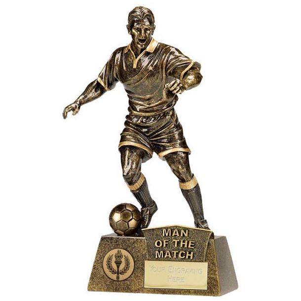 """Antique Gold Pinnacle Man of The Match Football Trophy 22cm (8.75"""")"""