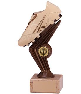 "Cream & Bronze Plastic Football Boot Trophy on Marble Base 18cm (7"")"
