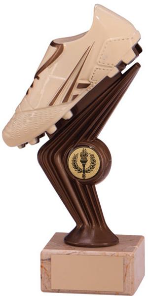 "Cream & Bronze Plastic Football Boot Trophy on Marble Base 13cm (5"")"