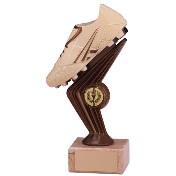 "Cream & Bronze Plastic Football Boot Trophy on Marble Base 18cm (7"")"