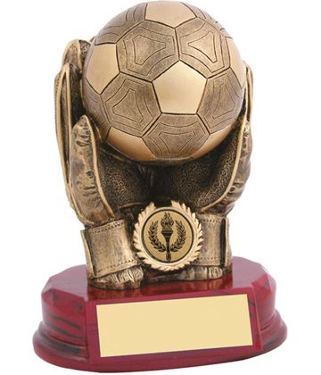 "Antique Gold Resin Goalkeeper Trophy 18cm (7"")"