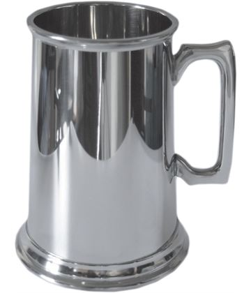 "High Polished Plain 3pt Sheffield Pewter Tankard 20cm (7.75"")"