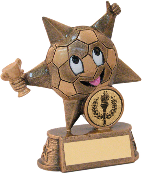 "Gold Resin Football Comic Star Trophy 11.5cm (4.5"")"