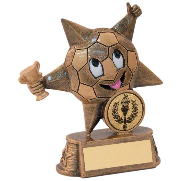 "Gold Resin Football Comic Star Trophy 11.5cm (4.5"")"