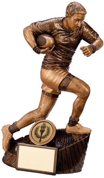 """Gold Resin Raider Rugby Figure Trophy 20cm (8"""")"""