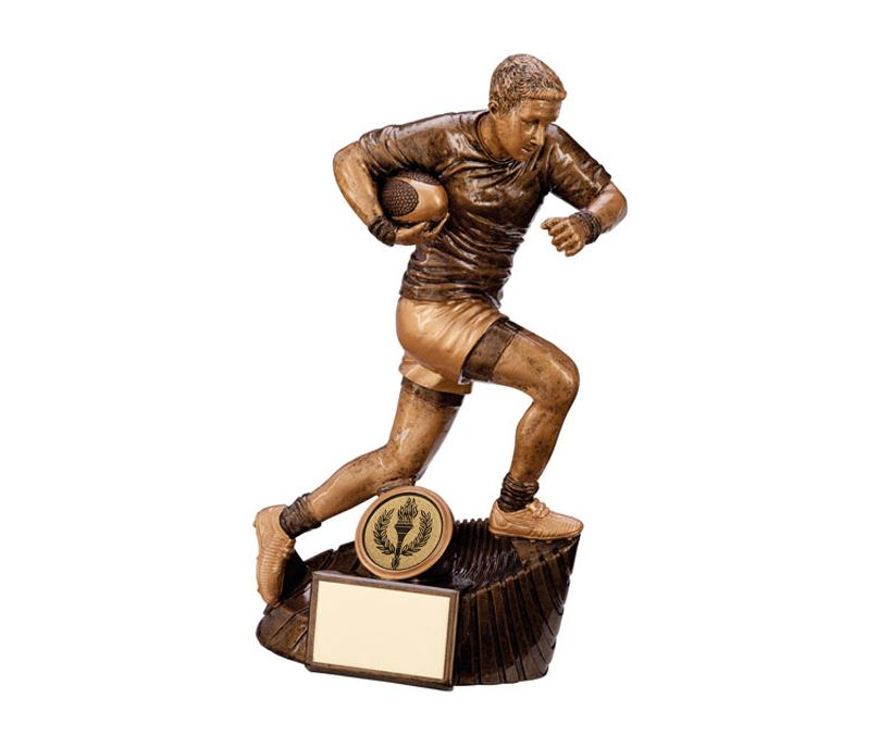 """Gold Resin Raider Rugby Figure Trophy 18cm (7"""")"""
