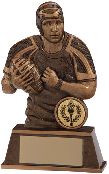 """Gold Resin Puma Protector Torso Male Rugby Player Trophy 11.5cm (4.5"""")"""