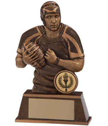 """Gold Resin Puma Protector Torso Male Rugby Player Trophy 14cm (5.5"""")"""