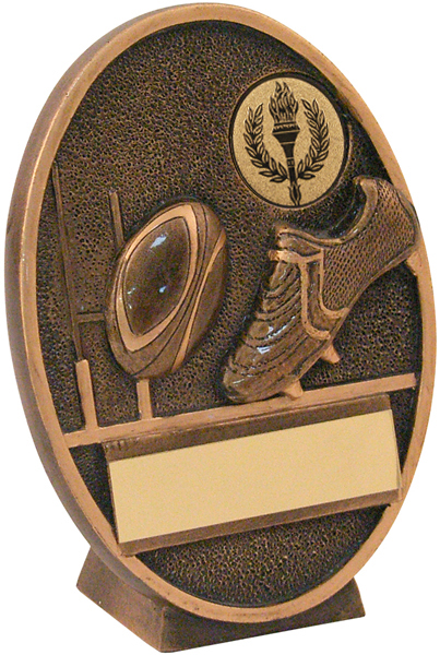 """Gold Resin Oval Rugby Ball & Boot Plaque Trophy 14cm (5.5"""")"""